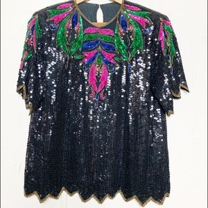 Vintage Black Sequined Beaded Bright Accent Colors